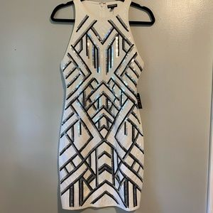 NWT express white bodycon black and silver sequins